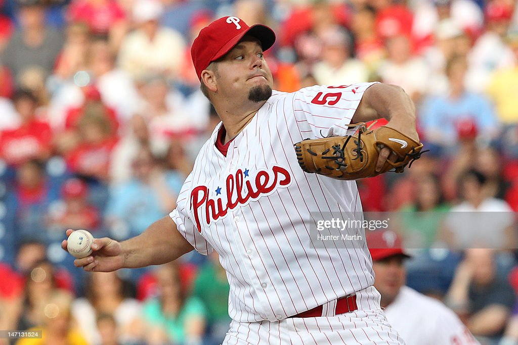 Starting pitcher Joe Blanton #56 of the Philadelphia Phillies throws a pitch during a game against the Pittsburgh Pirates at Citizens Bank Park on June 25, 2012 in Philadelphia, Pennsylvania.