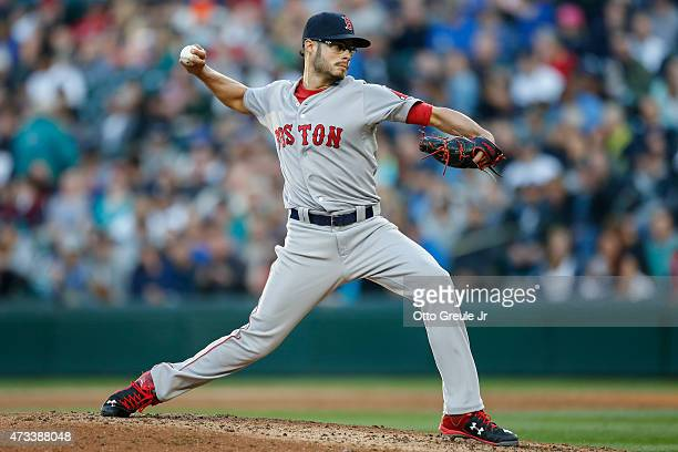 Starting pitcher Joe Kelly of the Boston Red Sox pitches against the Seattle Mariners in the third inning at Safeco Field on May 14 2015 in Seattle...