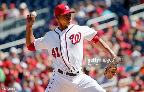 Starting pitcher Joe Ross of the Washington Nationals throws to a Atlanta Braves batter in the first inning at Nationals Park on September 6 2015 in...