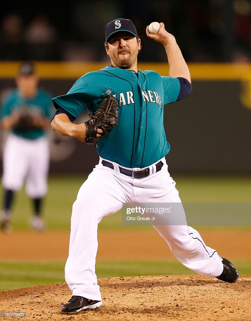 Starting pitcher Joe Saunders #23 of the Seattle Mariners pitches against the Baltimore Orioles at Safeco Field on April 29, 2013 in Seattle, Washington.