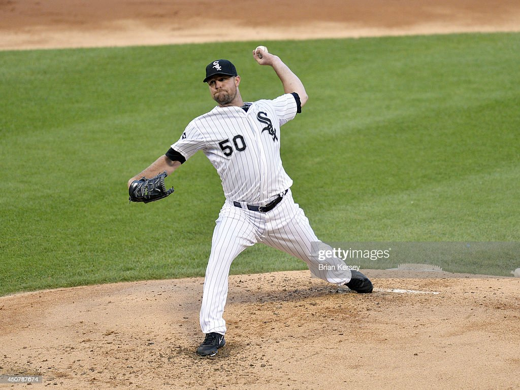 Starting pitcher John Danks #50 of the Chicago White Sox delivers a pitch during the third inning against the San Francisco Giants at U.S. Cellular Field on June 17, 2014 in Chicago, Illinois.