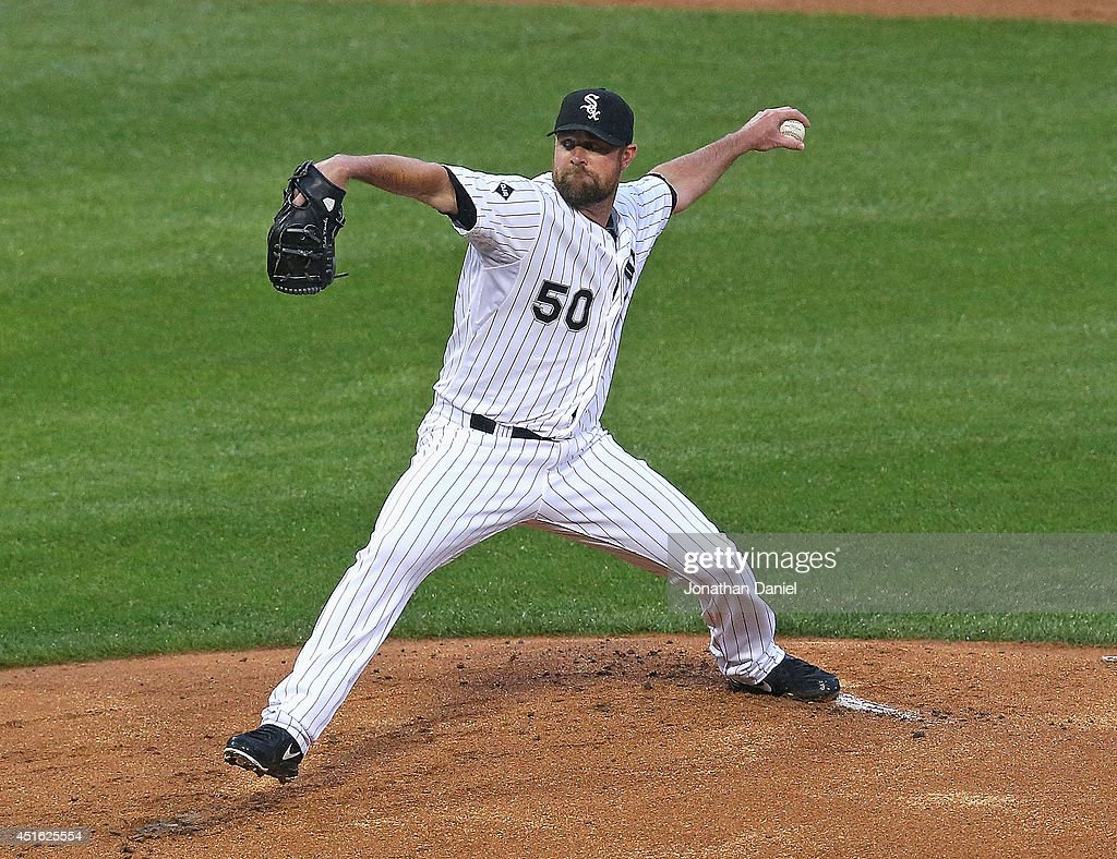 Starting pitcher John Danks #50 of the Chicago White Sox delivers the ball against the Los Angeles Angels of Anaheim at U.S. Cellular Field on July 2, 2014 in Chicago, Illinois.