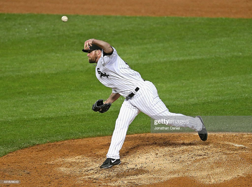 Starting pitcher <a gi-track='captionPersonalityLinkClicked' href=/galleries/search?phrase=John+Danks&family=editorial&specificpeople=835613 ng-click='$event.stopPropagation()'>John Danks</a> #50 of the Chicago White Sox delivers the ball against the Los Angeles Angels of Anaheim at U.S. Cellular Field on July 2, 2014 in Chicago, Illinois. The White Sox defeated the Angels 3-2.