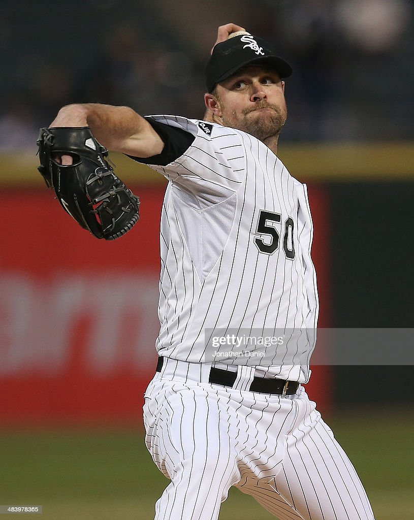 Starting pitcher <a gi-track='captionPersonalityLinkClicked' href=/galleries/search?phrase=John+Danks&family=editorial&specificpeople=835613 ng-click='$event.stopPropagation()'>John Danks</a> #50 of the Chicago White Sox delivers the ball against the Cleveland Indians at U.S. Cellular Field on April 10, 2014 in Chicago, Illinois.