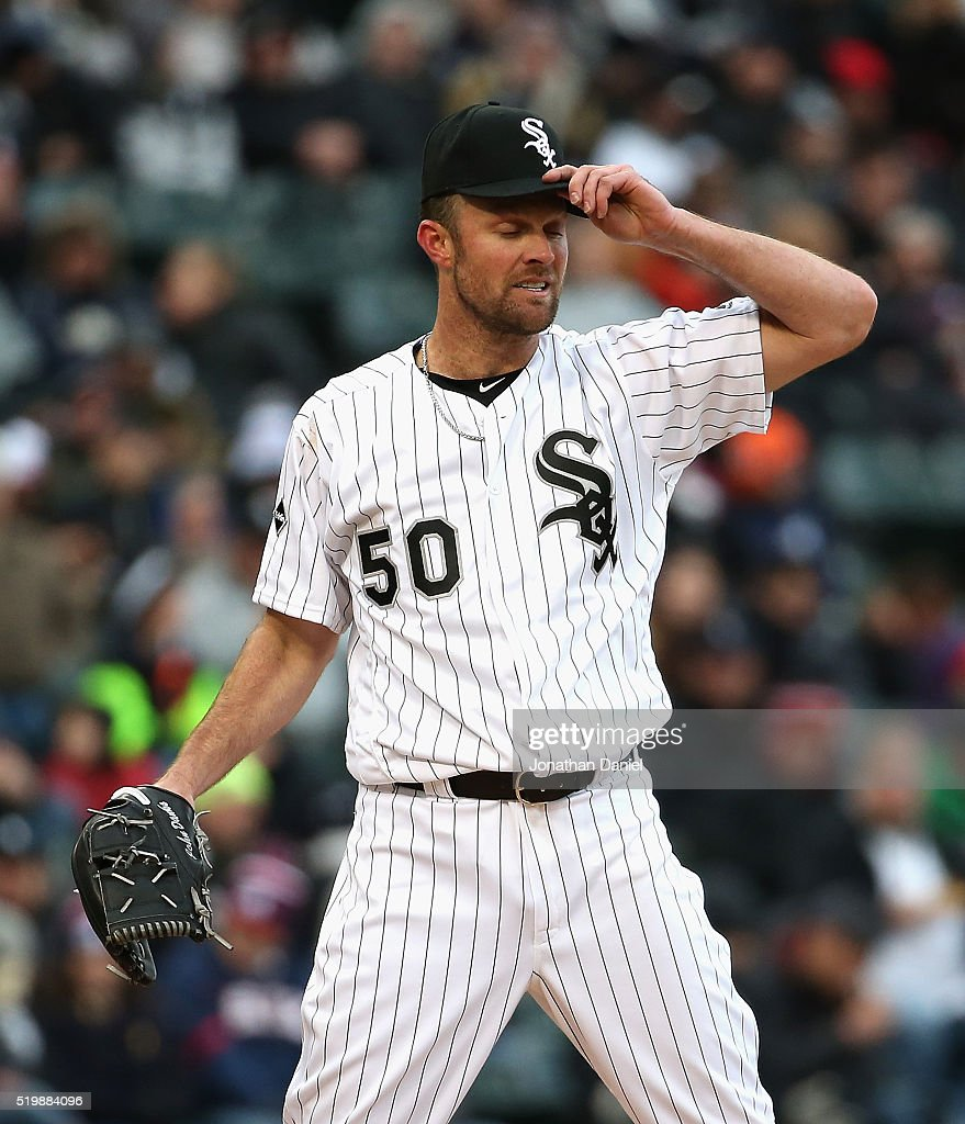 Starting pitcher <a gi-track='captionPersonalityLinkClicked' href=/galleries/search?phrase=John+Danks&family=editorial&specificpeople=835613 ng-click='$event.stopPropagation()'>John Danks</a> #50 of the Chicago White Sox reacts in the 5th inning against the Cleveland Indians during the home opener at U.S. Cellular Field on April 8, 2016 in Chicago, Illinois. The Indians defeated the White Sox 7-1.