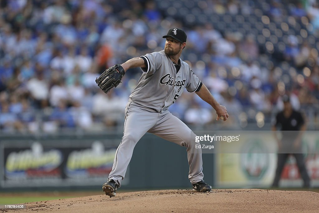 Starting pitcher <a gi-track='captionPersonalityLinkClicked' href=/galleries/search?phrase=John+Danks&family=editorial&specificpeople=835613 ng-click='$event.stopPropagation()'>John Danks</a> #50 of the Chicago White Sox throws against the Kansas City Royals at Kauffman Stadium August 20, 2013 in Kansas City, Missouri.