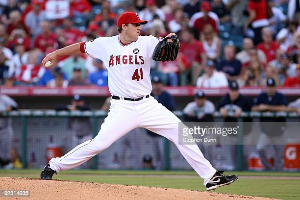 Starting pitcher John Lackey of the Los Angeles Angels of Anaheim pitches in the first inning against the New York Yankees in Game Five of the ALCS...