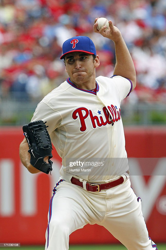 Starting pitcher <a gi-track='captionPersonalityLinkClicked' href=/galleries/search?phrase=John+Lannan&family=editorial&specificpeople=4432497 ng-click='$event.stopPropagation()'>John Lannan</a> #27 of the Philadelphia Phillies throws a pitch during a game against the New York Mets at Citizens Bank Park on June 23, 2013 in Philadelphia, Pennsylvania. The Mets won 8-0.