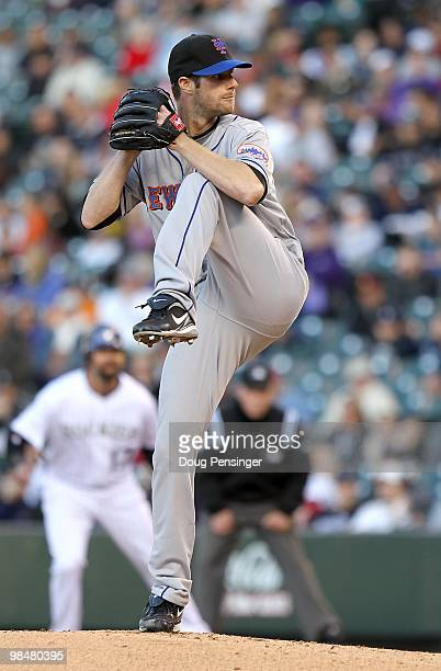 Starting pitcher John Maine of the New York Mets delivers against the Colorado Rockies during Major League Baseball action at Coors Field on April 13...