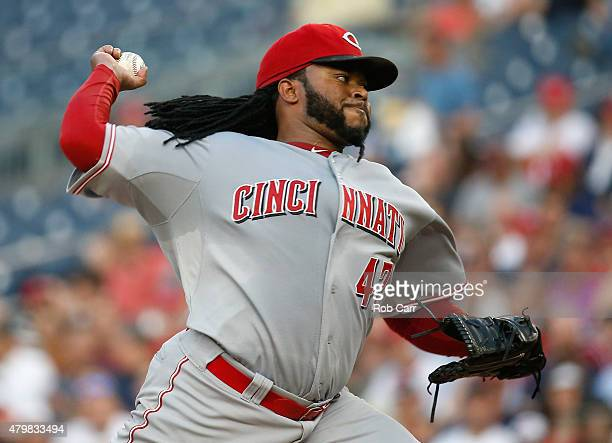 Starting pitcher Johnny Cueto of the Cincinnati Reds throws to a Washington Nationals batter in the third inning at Nationals Park on July 7 2015 in...
