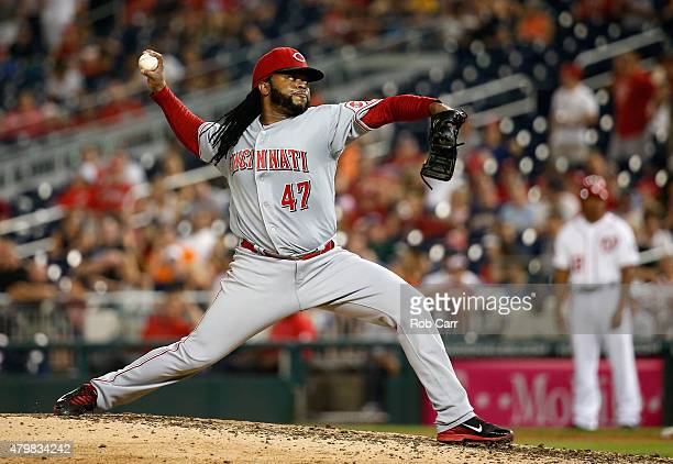 Starting pitcher Johnny Cueto of the Cincinnati Reds throws to a Washington Nationals batter in the ninth inning of the Reds 50 win at Nationals Park...