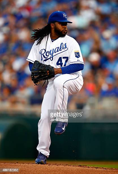 Starting pitcher Johnny Cueto of the Kansas City Royals pitches during the 1st inning of the game against the Detroit Tigers at Kauffman Stadium on...