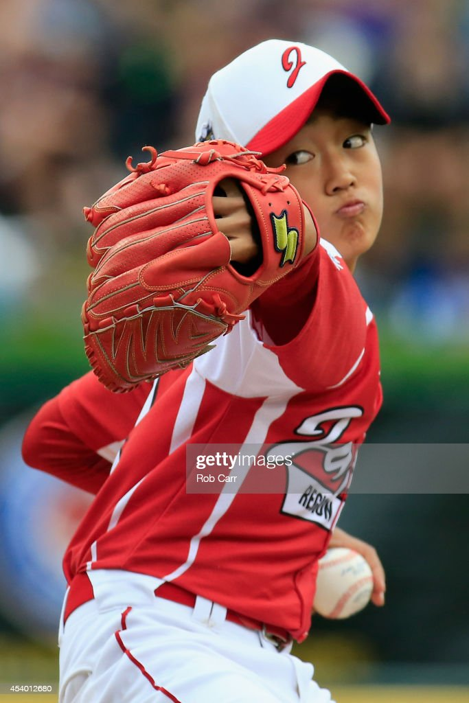Starting pitcher Joichiro Fujimatsu #14 of Team Japan throws to a Team Asia-Pacific batter during the first inning of the International Championship game of the Little League World Series at Lamade Stadium on August 23, 2014 in South Williamsport, Pennsylvania.