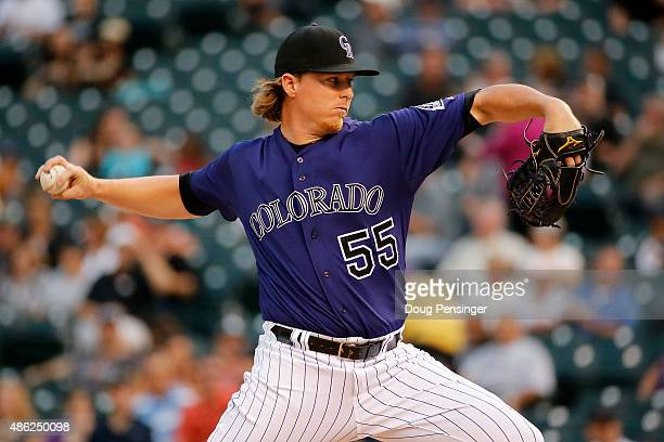 Starting pitcher Jon Gray of the Colorado Rockies delivers against the Arizona Diamondbacks at Coors Field on September 2 2015 in Denver Colorado