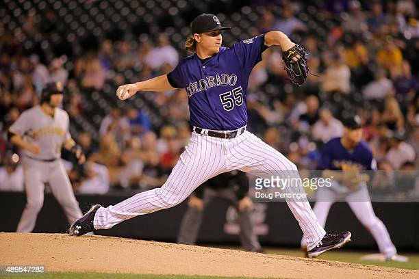 Starting pitcher Jon Gray of the Colorado Rockies delivers against the Pittsburgh Pirates at Coors Field on September 21 2015 in Denver Colorado The...