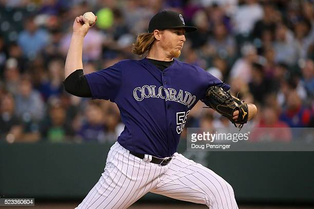 Starting pitcher Jon Gray of the Colorado Rockies delivers against the Los Angeles Dodgers at Coors Field on April 22 2016 in Denver Colorado The...