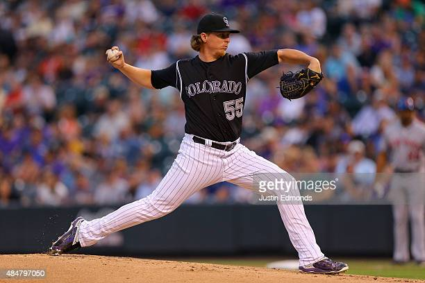 Starting pitcher Jon Gray of the Colorado Rockies delivers to home plate during the first inning against the New York Mets at Coors Field on August...