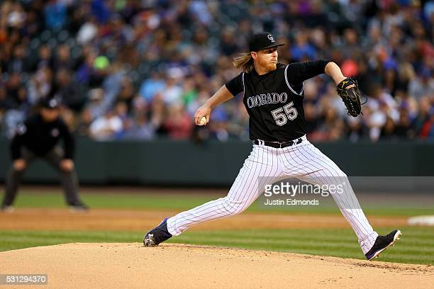 Starting pitcher Jon Gray of the Colorado Rockies delivers to home plate during the third inning against the New York Mets at Coors Field on May 13...