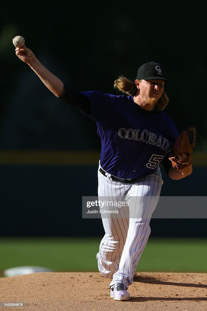 Starting pitcher Jon Gray #55 of the Colorado Rockies delivers to home plate during the first inning against the Philadelphia Phillies at Coors Field on July 8, 2016 in Denver, Colorado.