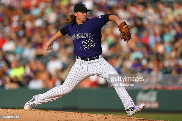 Starting pitcher Jon Gray of the Colorado Rockies delivers to home plate during the third inning against the Philadelphia Phillies at Coors Field on...