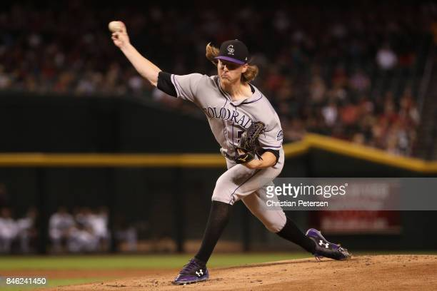 Starting pitcher Jon Gray of the Colorado Rockies pitches against the Arizona Diamondbacks during the first inning of the MLB game at Chase Field on...