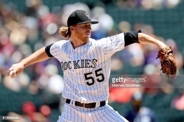 Starting pitcher Jon Gray of the Colorado Rockies throws in the first inning against the San Diego Padres at Coors Field on July 19 2017 in Denver...