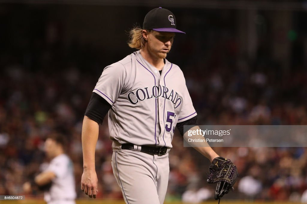 Starting pitcher Jon Gray #55 of the Colorado Rockies walks off the field during the MLB game against the Arizona Diamondbacks at Chase Field on September 12, 2017 in Phoenix, Arizona.