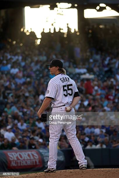 Starting pitcher Jon Gray of the Colorado Rockies works against the Seattle Mariners in his Major League debut during interleague play at Coors Field...