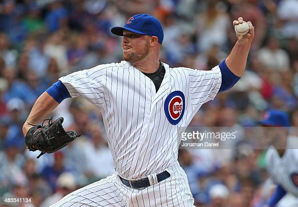 Starting pitcher Jon Lester of the Chicago Cubs delivers the ball against the San Francisco Giants at Wrigley Field on August 7 2015 in Chicago...