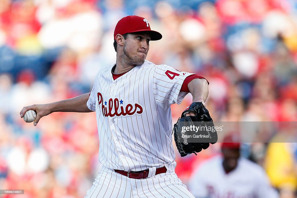 Starting pitcher <a gi-track='captionPersonalityLinkClicked' href=/galleries/search?phrase=Jonathan+Pettibone&family=editorial&specificpeople=10524568 ng-click='$event.stopPropagation()'>Jonathan Pettibone</a> #44 of the Philadelphia Phillies throws a pitch during the game against the Miami Marlins at Citizens Bank Park on June 4, 2013 in Philadelphia, Pennsylvania.