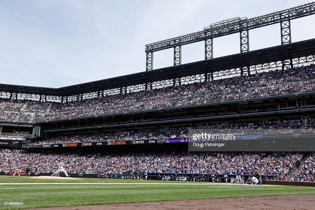 Starting pitcher Jordan Lyles #24 of the Colorado Rockies delivers the first pitch of the game against the San Diego Padres during opening day at Coors Field on April 8, 2016 in Denver, Colorado. Lyles collected the loss as the Padres defeated the Rockies 13-6.
