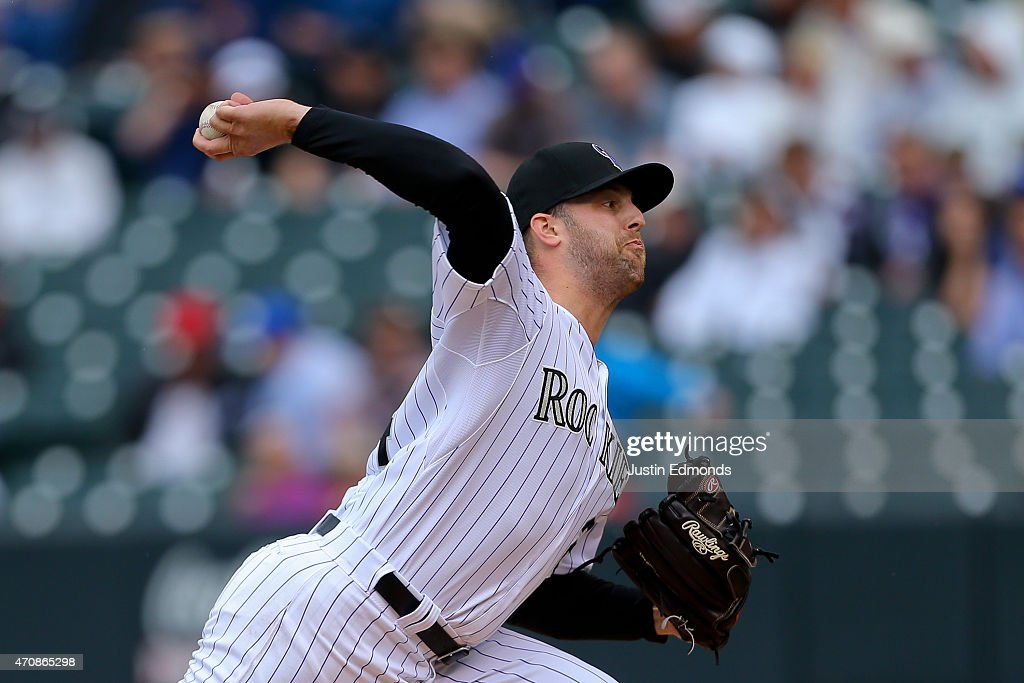 Starting pitcher Jordan Lyles #24 of the Colorado Rockies delivers to home plate during the third inning against the San Diego Padres at Coors Field on April 23, 2015 in Denver, Colorado. The Rockies defeated the Padres 2-1.
