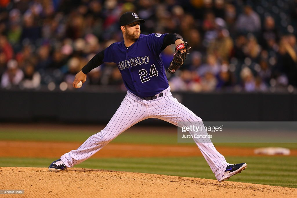 Starting pitcher Jordan Lyles #24 of the Colorado Rockies delivers to home plate during the third inning against the Philadelphia Phillies at Coors Field on May 18, 2015 in Denver, Colorado.