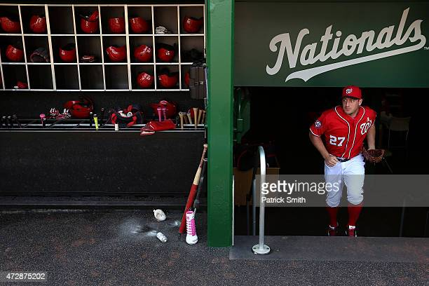 Starting pitcher Jordan Zimmermann of the Washington Nationals runs out of the clubhouse before playing against the Atlanta Braves at Nationals Park...