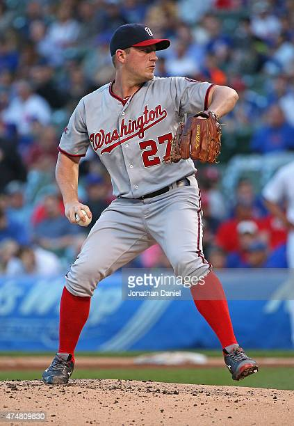 Starting pitcher Jordan Zimmermann of the Washington Nationals delivers the ball against the Chicago Cubs at Wrigley Field on May 26 2015 in Chicago...