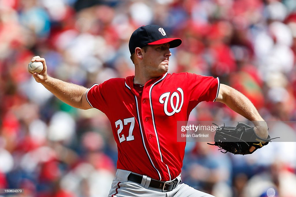 Starting pitcher Jordan Zimmermann #27 of the Washington Nationals throws the ball during the game against the Philadelphia Phillies at Citizens Bank Park on August 26, 2012 in Philadelphia, Pennsylvania.