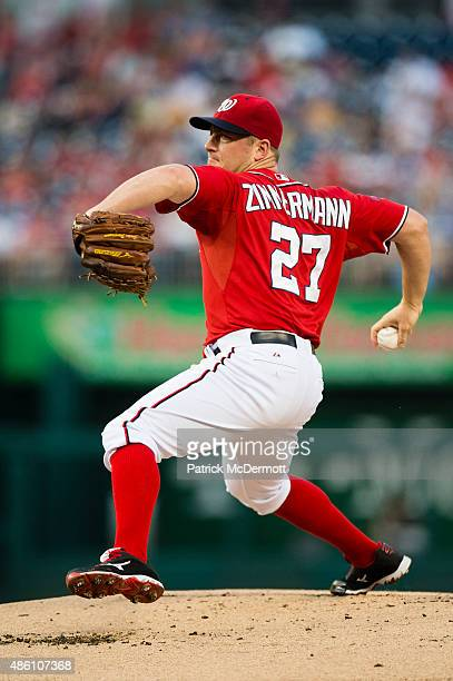Starting pitcher Jordan Zimmermann of the Washington Nationals throws a pitch to a Miami Marlins batter in the first inning of a baseball game at...