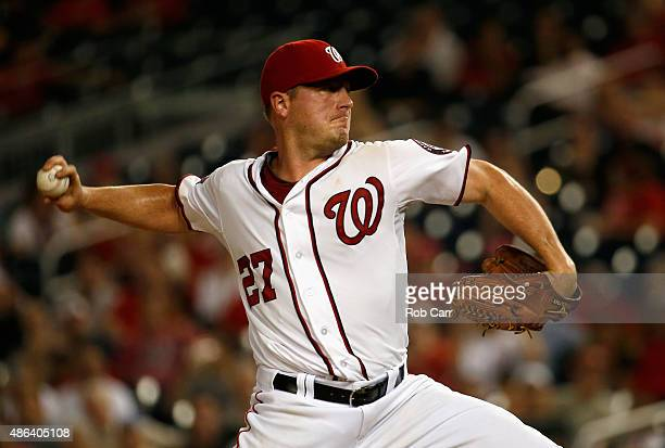 Starting pitcher Jordan Zimmermann of the Washington Nationals throws to an Atlanta Braves batter in the sixth inning at Nationals Park on September...