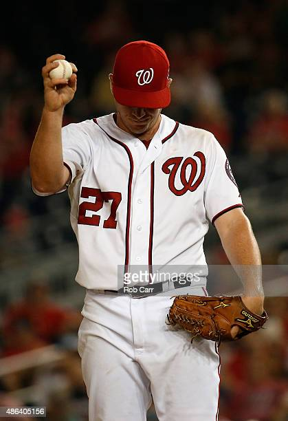 Starting pitcher Jordan Zimmermann of the Washington Nationals prepares to throw a pitch to a Atlanta Braves batter in the sixth inning at Nationals...