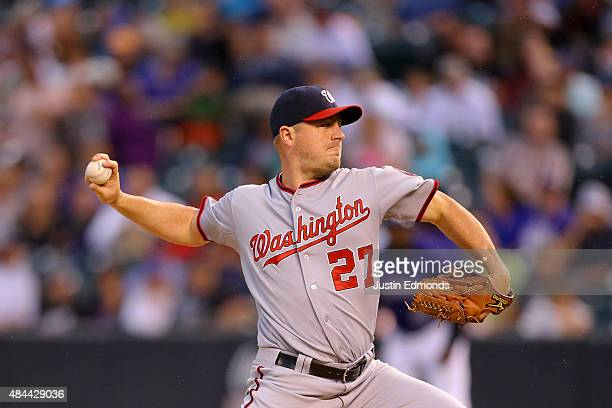 Starting pitcher Jordan Zimmermann of the Washington Nationals delivers to home plate during the first inning against the Colorado Rockies at Coors...