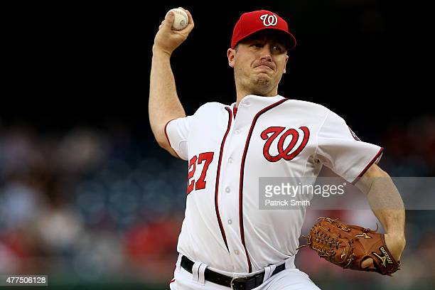 Starting pitcher Jordan Zimmermann of the Washington Nationals works the first inning against the Tampa Bay Rays at Nationals Park on June 17 2015 in...