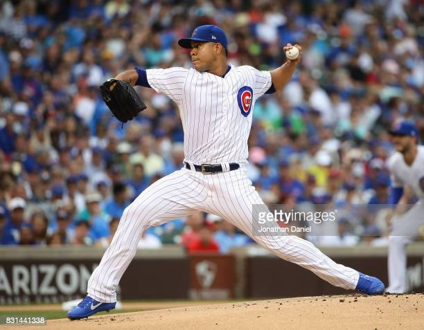 Starting pitcher Jose Quintana of the Chicago Cubs delivers the ball against the Arizona Diamondbacks at Wrigley Field on August 3 2017 in Chicago...
