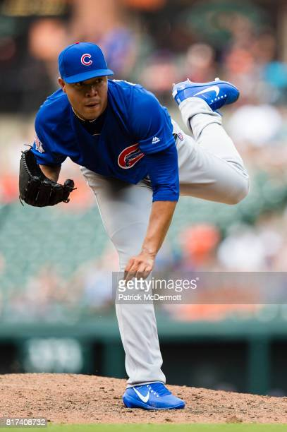 Starting pitcher Jose Quintana of the Chicago Cubs throws a pitch to a Baltimore Orioles batter in the fifth inning during a game at Oriole Park at...