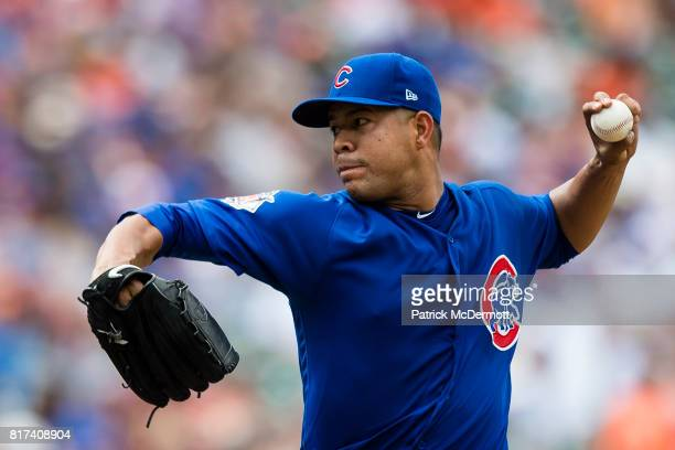 Starting pitcher Jose Quintana of the Chicago Cubs throws a pitch to a Baltimore Orioles batter in the sixth inning during a game at Oriole Park at...