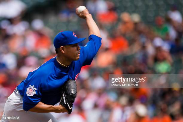Starting pitcher Jose Quintana of the Chicago Cubs throws a pitch to a Baltimore Orioles batter in the fourth inning during a game at Oriole Park at...