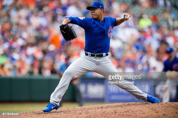 Starting pitcher Jose Quintana of the Chicago Cubs throws a pitch to a Baltimore Orioles batter in the second inning during a game at Oriole Park at...