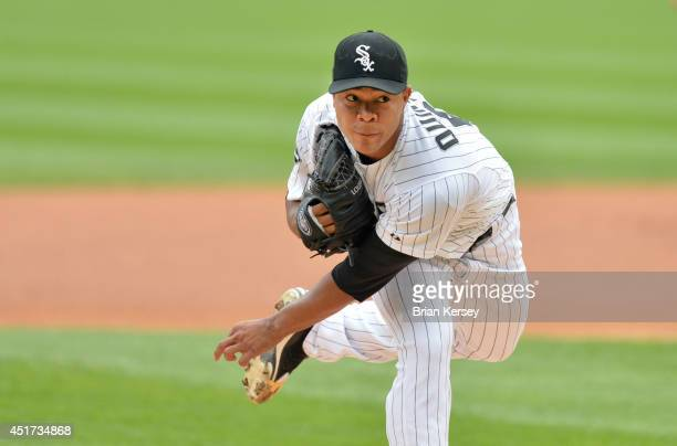 Starting pitcher Jose Quintana of the Chicago White Sox delivers a pitch during the first inning against the Seattle Mariners at US Cellular Field on...