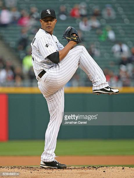 Starting pitcher Jose Quintana of the Chicago White Sox delivers the ball against the Boston Red Sox at US Cellular Field on May 3 2016 in Chicago...