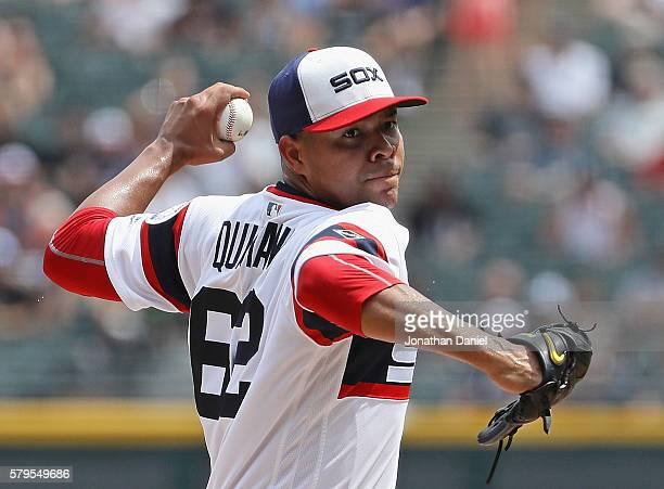 Starting pitcher Jose Quintana of the Chicago White Sox delivers the ball against the Detroit Tigers at US Cellular Field on July 24 2016 in Chicago...