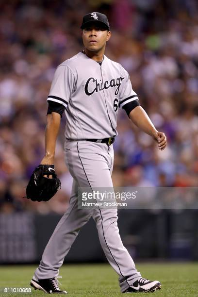 Starting pitcher Jose Quintana of the Chicago White Sox leaves the game in the sixth inning against the Colorado Rockies at Coors Field on July 8...